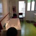 salle de bains avec carrelage vert - design